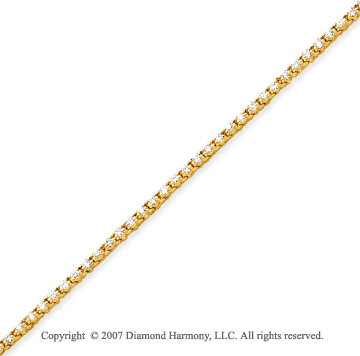 14k Yellow Gold Duo Link 1.95 Carat Diamond Tennis Bracelet