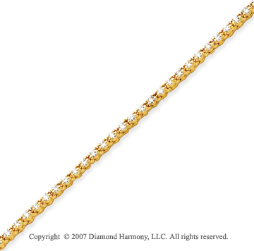 14k Yellow Gold Duo Link 2.60 Carat Diamond Tennis Bracelet