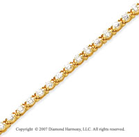 14k Yellow Gold Duo Link 3.90 Carat Diamond Tennis Bracelet
