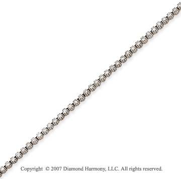 14k White Gold Flower 1.60 Carat Diamond Tennis Bracelet