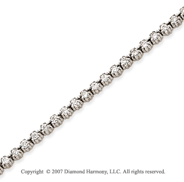 14k White Gold Flower 2.35 Carat Diamond Tennis Bracelet