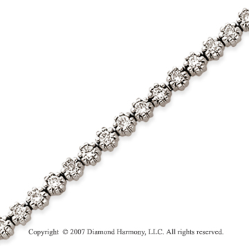 14k White Gold Flower 2.55 Carat Diamond Tennis Bracelet