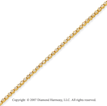 14k Yellow Gold Flower 1.60 Carat Diamond Tennis Bracelet