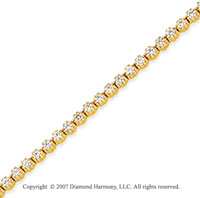 14k Yellow Gold Flower 2.35 Carat Diamond Tennis Bracelet