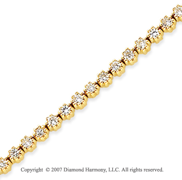 14k Yellow Gold Flower 2.55 Carat Diamond Tennis Bracelet
