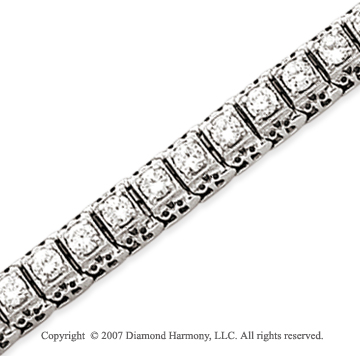 14k White Gold Fancy 4.45 Carat Diamond Tennis Bracelet