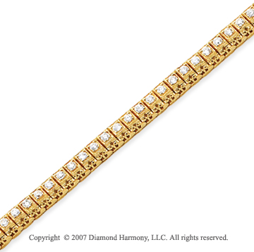 14k Yellow Gold Fancy 2.00 Carat Diamond Tennis Bracelet