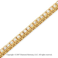 14k Yellow Gold Fancy 2.50 Carat Diamond Tennis Bracelet