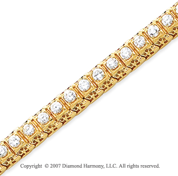 14k Yellow Gold Fancy 3.90 Carat Diamond Tennis Bracelet