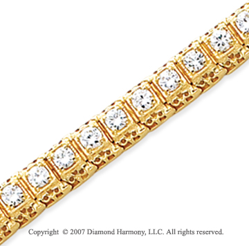 14k Yellow Gold Fancy 4.45 Carat Diamond Tennis Bracelet