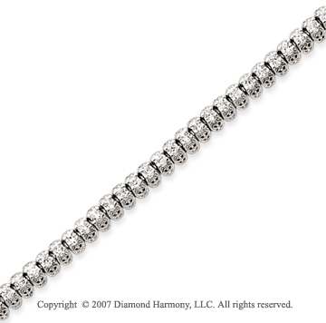 14k White Gold Fancy 3.10 Carat Diamond Tennis Bracelet