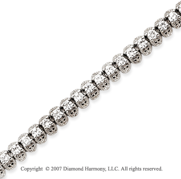 14k White Gold Fancy 4.25 Carat Diamond Tennis Bracelet