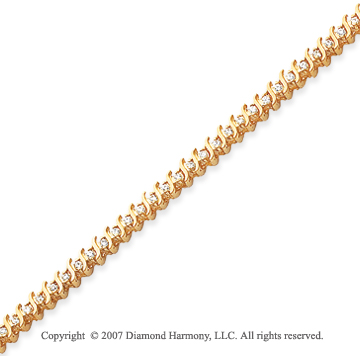 14k Yellow Gold S Link 1.00 Carat Diamond Tennis Bracelet