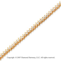 14k Yellow Gold S Link 2.00 Carat Diamond Tennis Bracelet