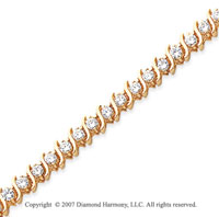 14k Yellow Gold S Link 4.10 Carat Diamond Tennis Bracelet