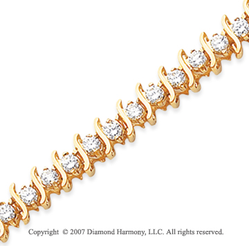 14k Yellow Gold S Link 5.00 Carat Diamond Tennis Bracelet