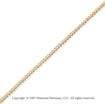 14k Yellow Gold Ribbon 0.90 Carat Diamond Tennis Bracelet