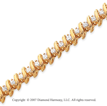 14k Yellow Gold Ribbon 2.05 Carat Diamond Tennis Bracelet