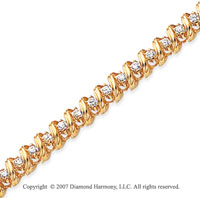 14k Yellow Gold Ribbon 2.00 Carat Diamond Tennis Bracelet