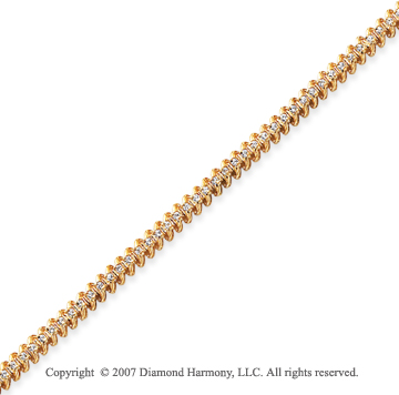 14k Yellow Gold Classic 1.10 Carat Diamond Tennis Bracelet