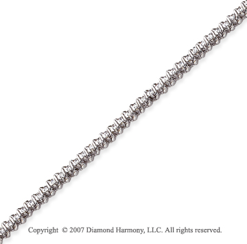 14k White Gold Swirl 1.00 Carat Diamond Tennis Bracelet