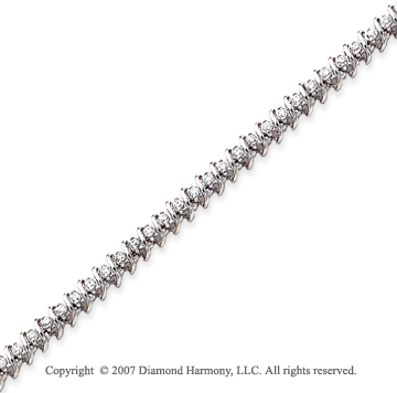 14k White Gold Swirl 1.40 Carat Diamond Tennis Bracelet