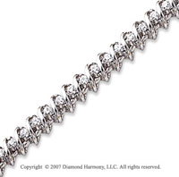 14k White Gold Swirl 1.95 Carat Diamond Tennis Bracelet