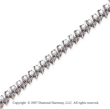 14k White Gold Swirl 2.25 Carat Diamond Tennis Bracelet
