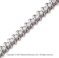 14k White Gold Swirl 3.35 Carat Diamond Tennis Bracelet