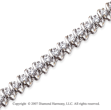 14k White Gold Swirl 4.00 Carat Diamond Tennis Bracelet