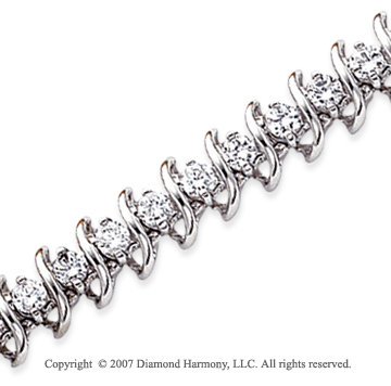 14k White Gold Swirl 5.15 Carat Diamond Tennis Bracelet