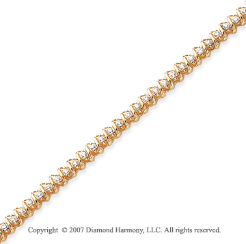 14k Yellow Gold Swirl 1.40 Carat Diamond Tennis Bracelet