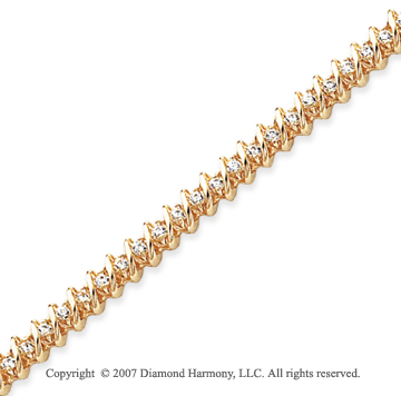 14k Yellow Gold Swirl 1.95 Carat Diamond Tennis Bracelet