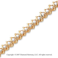 14k Yellow Gold Swirl 2.25 Carat Diamond Tennis Bracelet