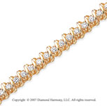 14k Yellow Gold Swirl 3.35 Carat Diamond Tennis Bracelet