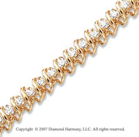14k Yellow Gold Swirl 4.00 Carat Diamond Tennis Bracelet