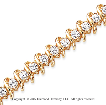 14k Yellow Gold Swirl 5.15 Carat Diamond Tennis Bracelet