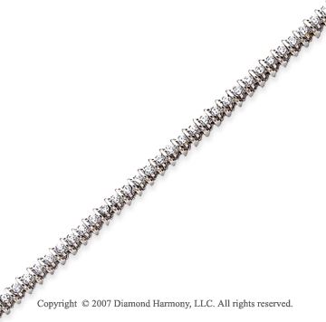 14k White Gold Rounded 1.95 Carat Diamond Tennis Bracelet