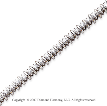 14k White Gold Rounded 2.95 Carat Diamond Tennis Bracelet