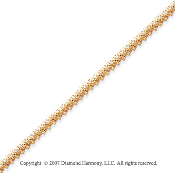 14k Yellow Gold Rounded 1.00 Carat Diamond Tennis Bracelet