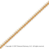 14k Yellow Gold Rounded 1.95 Carat Diamond Tennis Bracelet