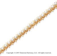 14k Yellow Gold Rounded 2.95 Carat Diamond Tennis Bracelet