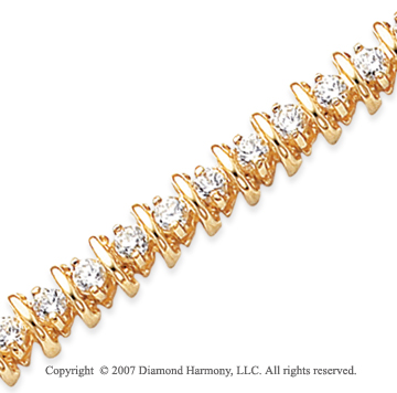 14k Yellow Gold Rounded 4.00 Carat Diamond Tennis Bracelet