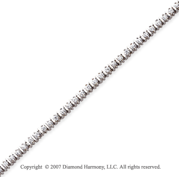 14k White Gold Bar Link 1.95 Carat Diamond Tennis Bracelet