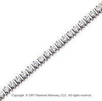 14k White Gold Bar Link 4.10 Carat Diamond Tennis Bracelet