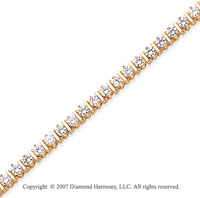 14k Yellow Gold Bar Link 4.10 Carat Diamond Tennis Bracelet