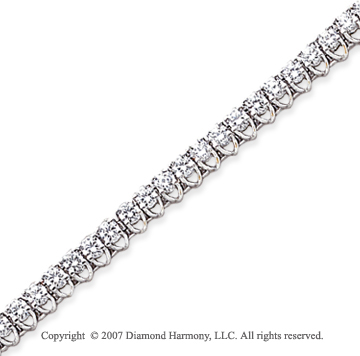 14k White Gold V Shape 3.95 Carat Diamond Tennis Bracelet