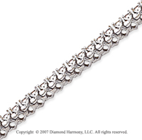 14k White Gold V Shape 4.70 Carat Diamond Tennis Bracelet