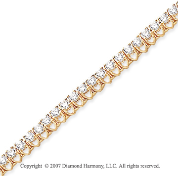 14k Yellow Gold V Shape 3.95 Carat Diamond Tennis Bracelet