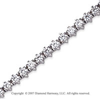14k White Gold Flower 2.20 Carat Diamond Tennis Bracelet
